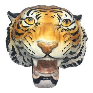 Vintage Terra-Cotta Tiger Head For Sale