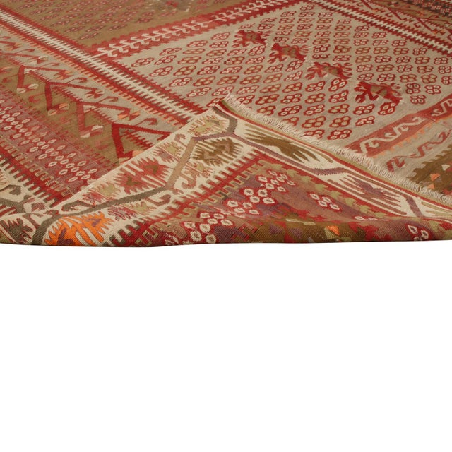 Red Vintage Kayseri Red and Brown Wool Kilim Rug For Sale - Image 8 of 9