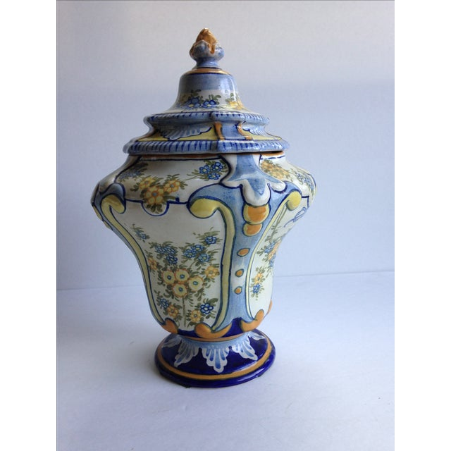 Hand-Painted Floral Italian Lidded Urn - Image 4 of 8