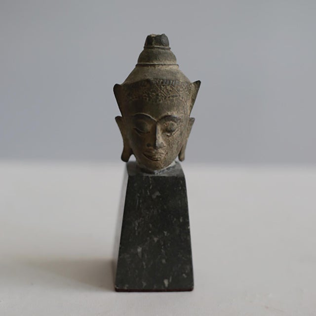 Bronze 19th Century Collection of Mounted Bronze Thai Buddha Heads, Circa 1800s For Sale - Image 7 of 13