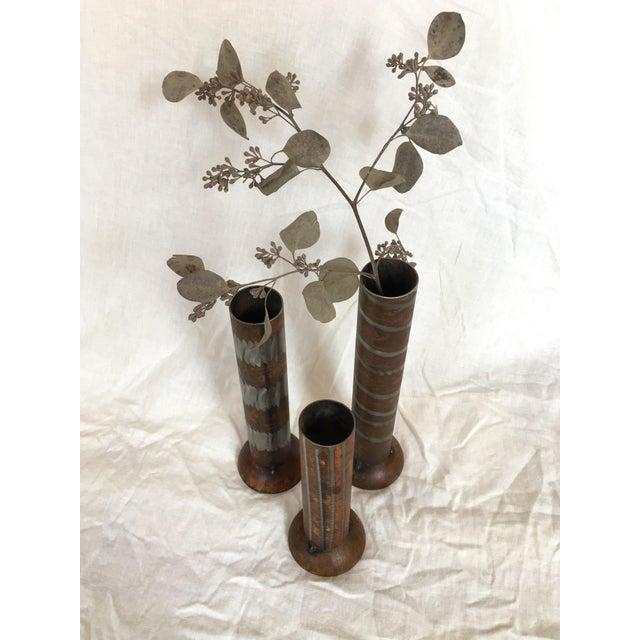 Metal 1990s Industrial Modern Vases - Set of 3 For Sale - Image 7 of 10