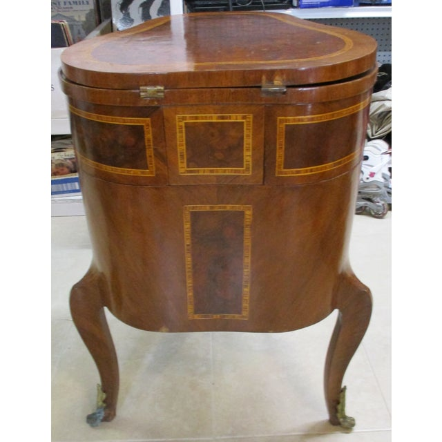 Egyptian Inlaid Wood Three Leg Flip-Up Mirror Top Vanity Dressing Table For Sale - Image 4 of 13