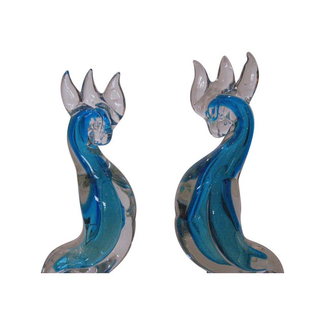 Murano Blue Glass Cockatoos - A Pair - Image 4 of 5