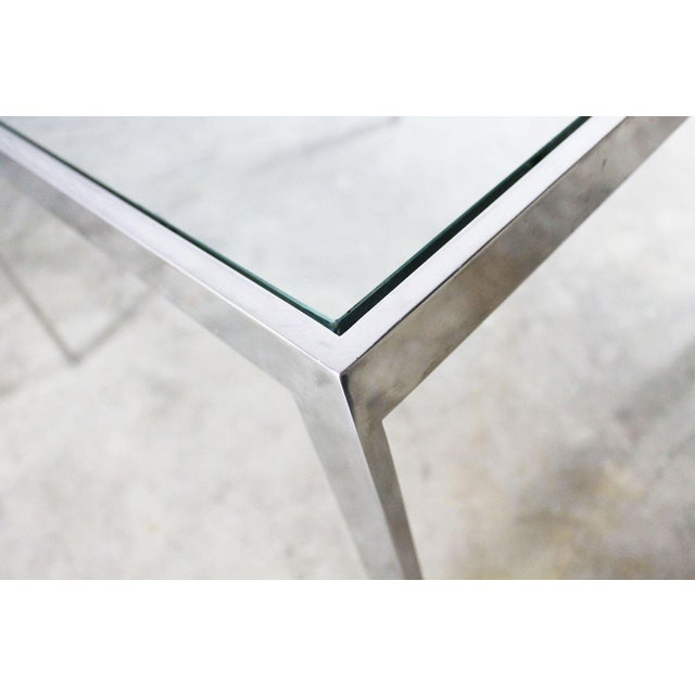 Chrome and Glass Milo Baughman Attribution Parsons Style End Table Vintage Modern For Sale - Image 5 of 10