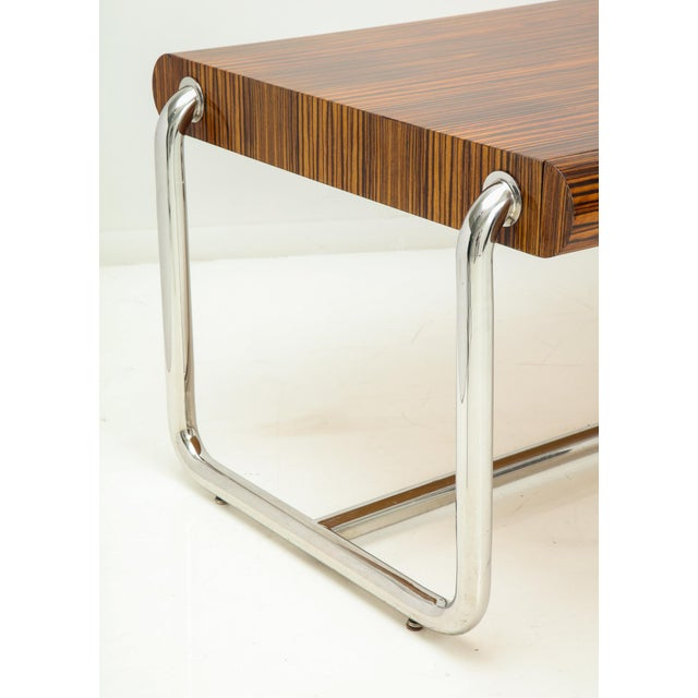 Chrome Pace Collection Executive Desk in Macassar and Chrome For Sale - Image 7 of 13