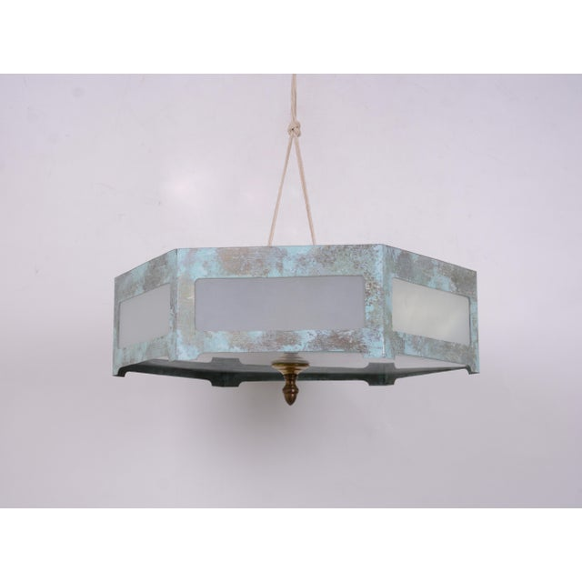 Metal Hexagonal Tole Ceiling Mount Lamp For Sale - Image 7 of 7