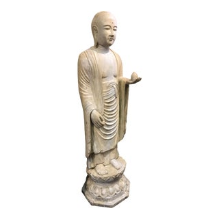 19th Century Hardwood and Polychrome Standing Buddhist Figure For Sale