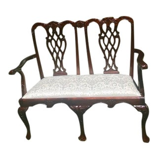 Vintage Chippendale Style Carved Mahogany Double Settee For Sale
