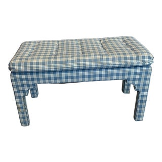 Vintage Mid-Century Tufted Cushioned Parsons Bench For Sale