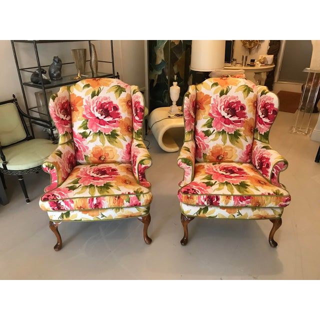 Green Floral Linen Wing Chairs - A Pair For Sale - Image 8 of 8