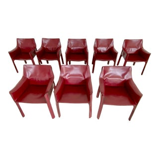 Vintage Eight Mario Bellini Cab Chairs - Set of 8 For Sale