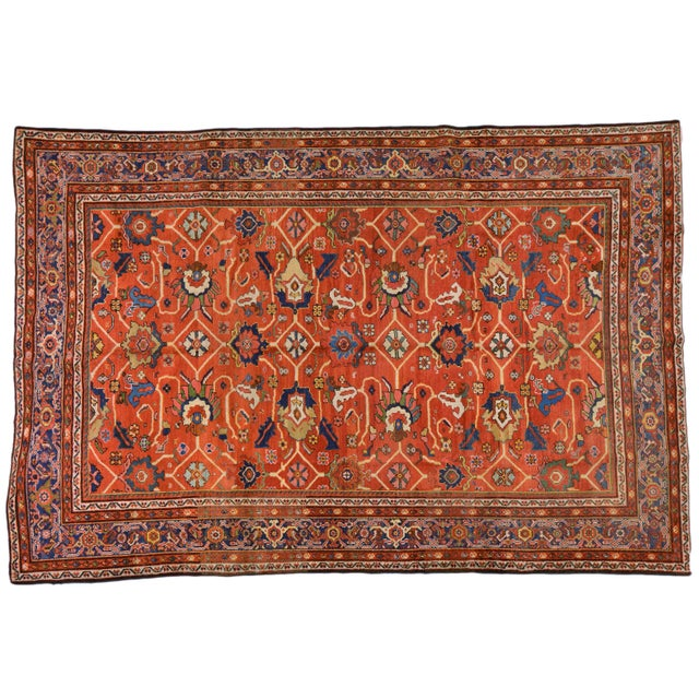"Red Vintage Persian Mahal Rug - 7' x 10'4"" For Sale - Image 8 of 8"