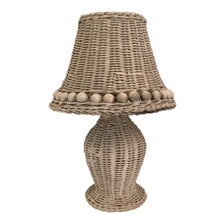White Wicker Table Lamp For Sale