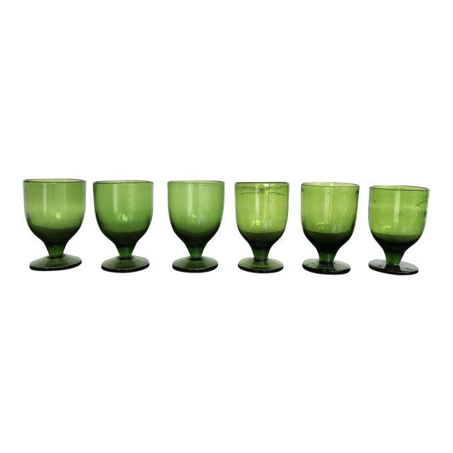 Vintage Green Dessert Glasses - Set of 8 - Image 1 of 6