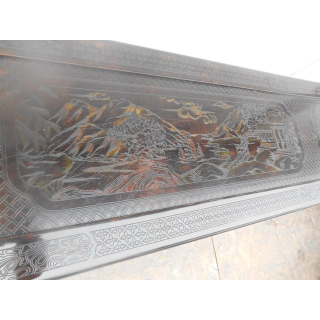 Brown John Widdicomb Chinoiserie Console Table For Sale - Image 8 of 13