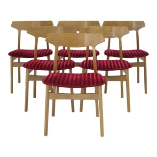 Customizable Henning Kjaernulf White Oak Danish Dining Chairs - Set of 6 For Sale