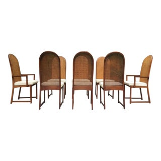 Mid Century Milo Baughman Caned Walnut Dining Chairs ~ Set of 8 For Sale