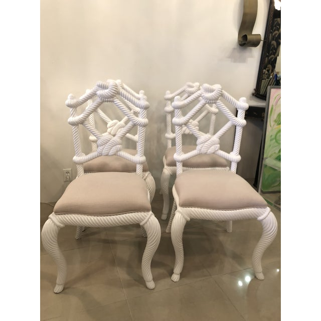 Vintage Nautical White Lacquered Wood Rope Side Dining Chairs -Set of 4 For Sale - Image 10 of 10
