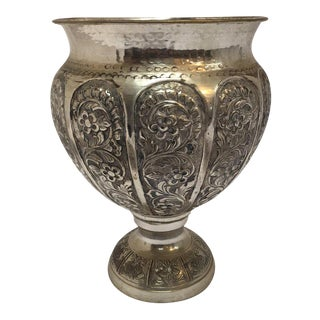 Anglo-Raj Style Silvered Footed Vase For Sale