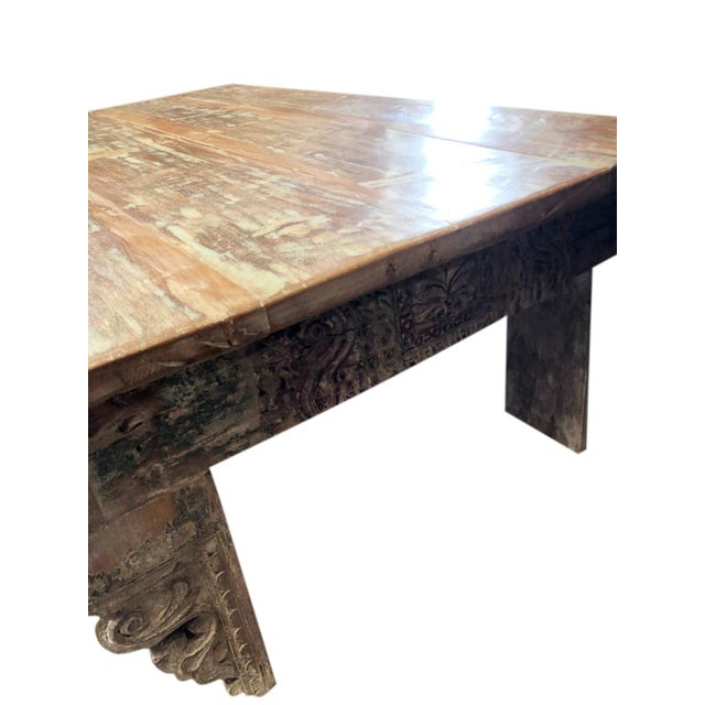 Brown Antique Chai Teak Wood Coffee Table For Sale - Image 8 of 9