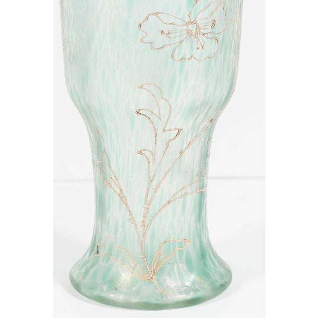 Distinguished Art Nouveau Austrian Art Glass Vase In Green