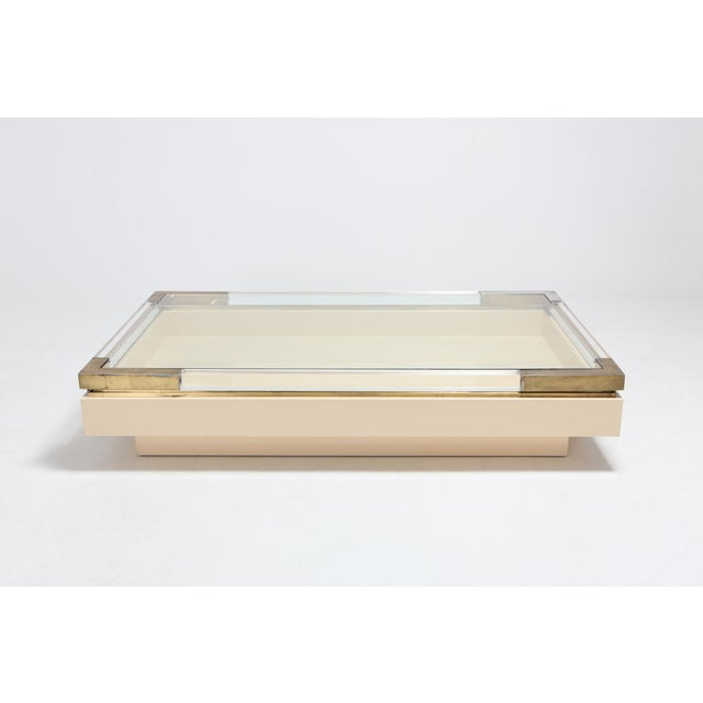 1970s Sliding Coffee Table in Brass, Lucite and Lacquer by Charles Hollis Jones 1970s For Sale - Image 5 of 9