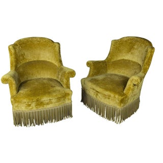 Pair of French, 19th Century Gold Velvet Armchairs For Sale