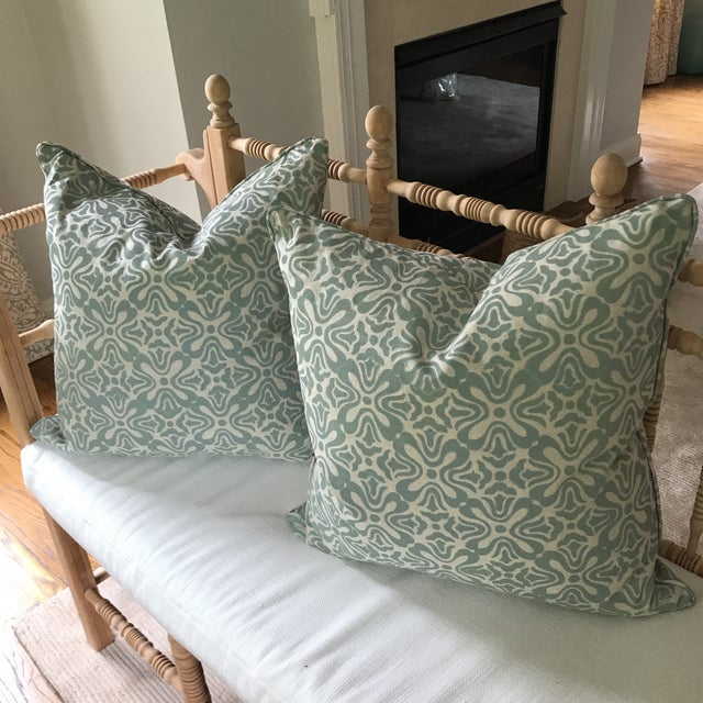 Boho Chic Galbraith & Paul Linen Pillows - A Pair For Sale - Image 3 of 6
