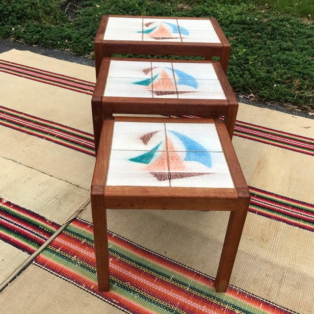 1970s Danish Modern Teak and Tile Top Nesting Tables - Set of 3 For Sale - Image 10 of 13