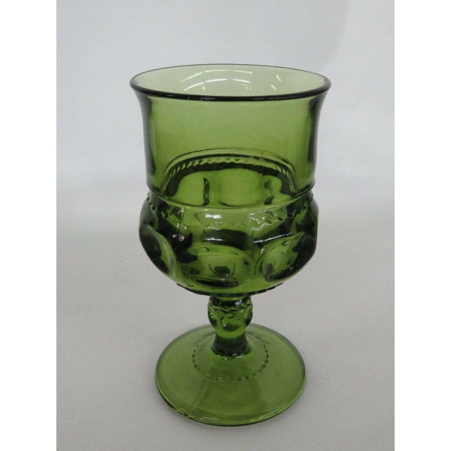 Mid 20th Century Indiana Glass Kings Crown Thumbprint Green Set of 6 Wine Cordial Goblets For Sale - Image 5 of 11