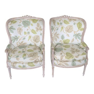 Upholstered Bergere Chairs - a Pair For Sale