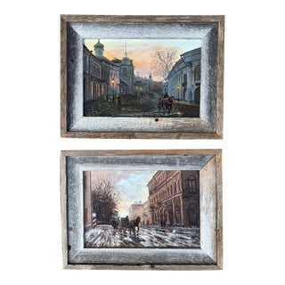 2004 Early America Street Scene Oil Paintings, Framed - a Pair For Sale