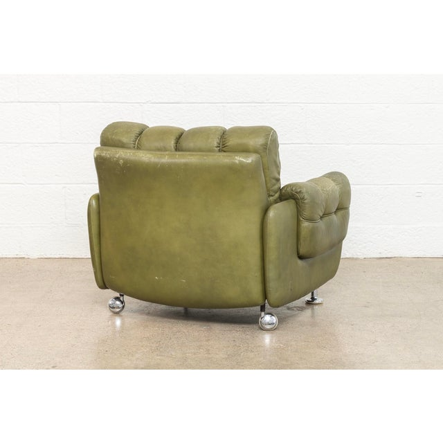 Vintage Mid Century Green Leather Lounge Chair in the Style of Percival Lafer, 1970s, Matching Sofa Available For Sale - Image 9 of 11