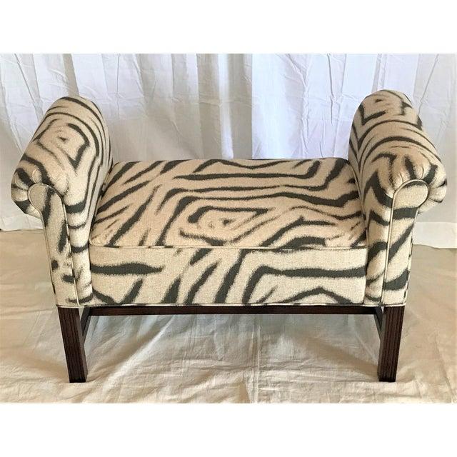 Primitive Zebra Print Scroll Arm Bench For Sale - Image 3 of 4