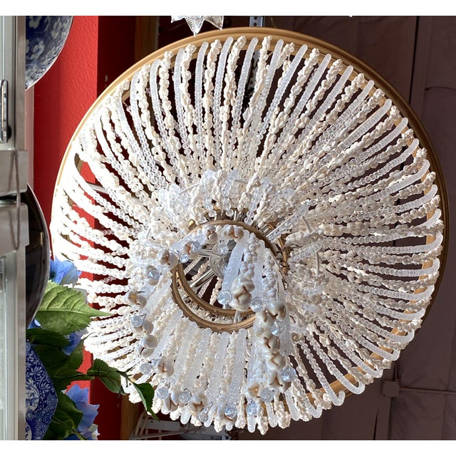 """French 64"""" Crystals and Shells 9 Light Coastal Chandelier For Sale In Tampa - Image 6 of 13"""
