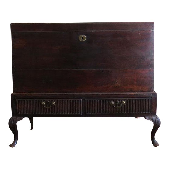Antique 1930s Mahogany Trunk For Sale