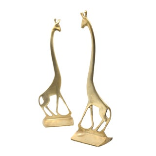 "14.5"" Tall Super Cool and Unique Vintage MCM Mid Century Brass Giraffes - a Pair For Sale"