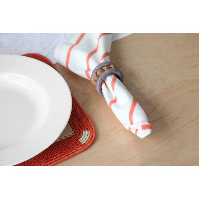Boho Chic Pinstripe Cotton Napkins Cream & Coral - Set of 4 For Sale - Image 3 of 4