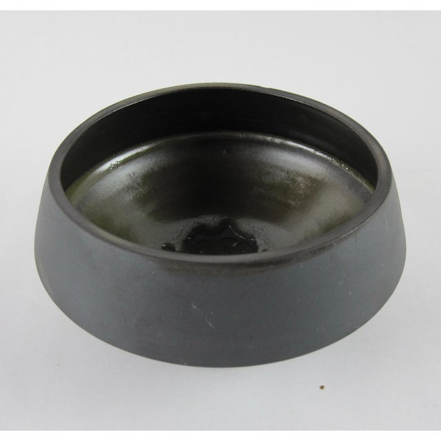 Clay Rare Earth Bisque Black Signed Studio Pottery Bowl For Sale - Image 7 of 7