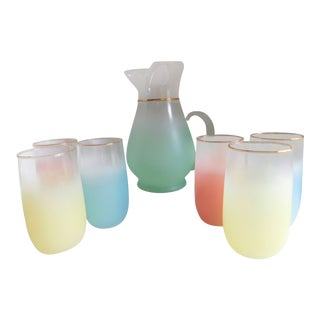 Mid Century Blendo Pitcher and Drinking Glasses - Set of 7 For Sale