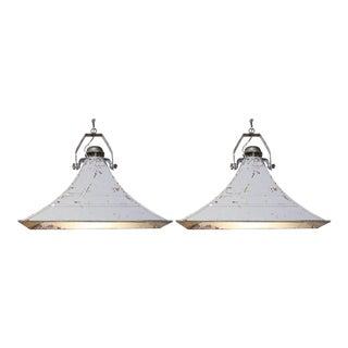 Pair of Pendant Lights from WWII Era Siren Speaker Horns For Sale