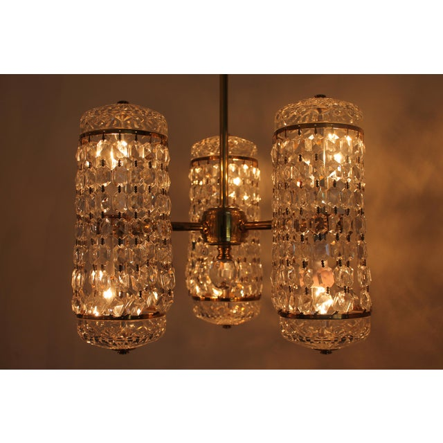 Art Deco Mid-Century Authentic Crystal Signed Chandelier by Waterford Circa 1960's For Sale - Image 3 of 11