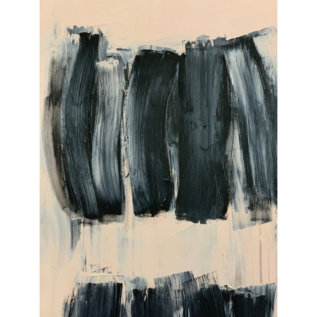 This abstract black and beige painting by Carolanna Parlato paintings draws on memories and imaginings of color and light....
