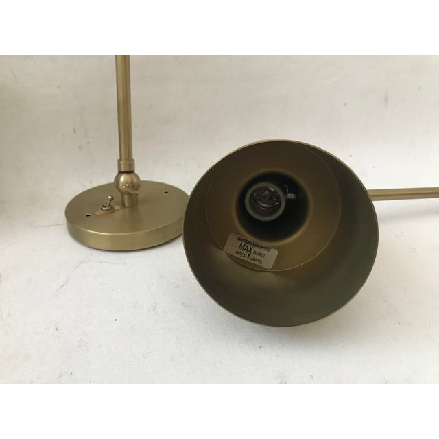 Modern Cedar & Moss Brass Double Articulated Wall Lamps Sconce-A Pair For Sale In Miami - Image 6 of 12