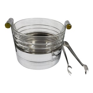 Art Deco Chrome Ice Bucket With Ribbed Glass Insert and Tongs For Sale