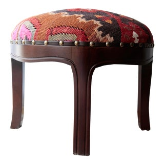 Modern Kilim Upholstery Footstool-Round Kilim Stool For Sale