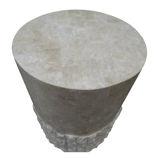 Fiberglass 20th Century Vintage Marquis Collection of Beverly Hills Postmodern Tessellated Stone Pedestal / Pedestal Table Base For Sale - Image 7 of 13