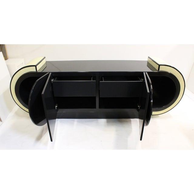 Pierre Cardin Style Black Modern Four-Door Buffet - Image 8 of 10