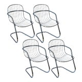 Image of Italian Tubular Chrome Cantilever Chairs, Set of 4 For Sale