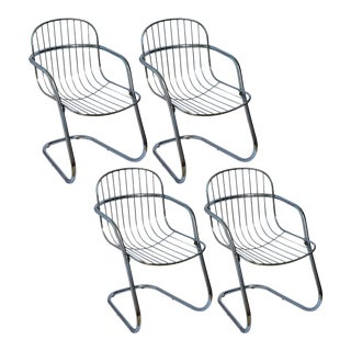 Italian Tubular Chrome Cantilever Chairs, Set of 4 For Sale